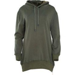 Ciemnozielona Bluza Sacrifice. Szare bluzy rozpinane damskie marki Born2be, l, z dresówki, z długim rękawem, długie, z kapturem. Za 79,99 zł.