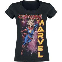 Captain Marvel Racer Koszulka damska czarny. Czarne bluzki z odkrytymi ramionami Captain Marvel, l, z motywem z bajki, z okrągłym kołnierzem. Za 74,90 zł.