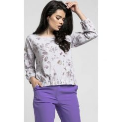 Bluzki damskie: Kwiatowa Oversizowa Asymetryczna Bluzka z Gumkami