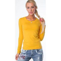 Bluzki damskie: Bluzka z długim rękawem żółta 334