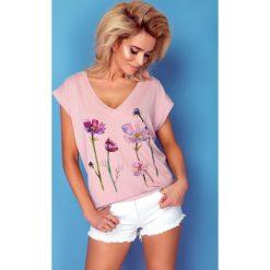 Bluzka t-shirt flower k161. Czerwone t-shirty damskie Knitis, l, z nadrukiem, z dzianiny, z klasycznym kołnierzykiem. W wyprzedaży za 44,00 zł.