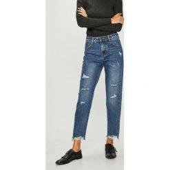 Answear - Jeansy. Niebieskie jeansy damskie rurki marki ANSWEAR, z bawełny, z podwyższonym stanem. W wyprzedaży za 89,90 zł.