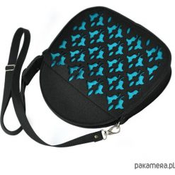 Kuferki damskie: JOJO -mini kuferek – czarny z turkusowym ażurem