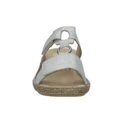 Sandały damskie: Sandały Rieker  Srebrne klapki błyszczące  658P9-80