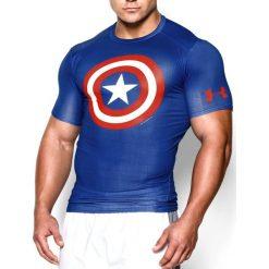 Under Armour Koszulka męska Alter Ego Transform Yourself Captain America niebieska r. XXL (124439942). Szare koszulki sportowe męskie marki Under Armour, z elastanu, sportowe. Za 126,05 zł.