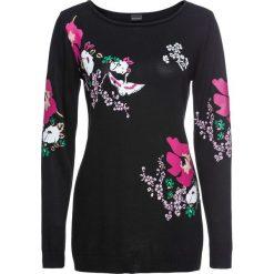 Sweter bonprix czarno-różowo-biały z nadrukiem. Czarne swetry klasyczne damskie bonprix, z dzianiny. Za 79,99 zł.