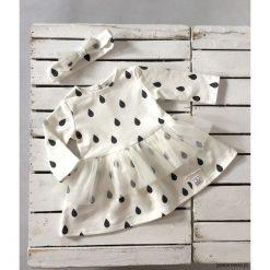 Sukienka ecru KROPELKI. Szare sukienki dziewczęce Pakamera, z bawełny, z długim rękawem, długie. Za 93,00 zł.