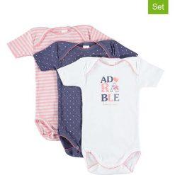 Body niemowlęce: Body (3 szt.) w kolorze jasnoróżowym, białym i niebieskim