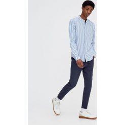 Koszule męskie na spinki: Koszula w paski z długim rękawem i stójką