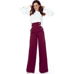 Spodnie z wysokim stanem: Bordowe Spodnie z Szerokimi Nogawkami z Wysokim Stanem