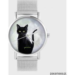 Zegarki damskie: Zegarek - Czarny kot - metalowy