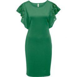 Sukienka z wycięciami bonprix zielony. Zielone sukienki hiszpanki bonprix, z okrągłym kołnierzem. Za 109,99 zł.
