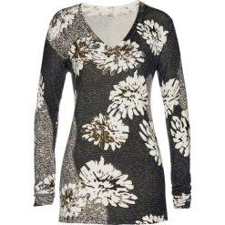 Sweter w kwiaty bonprix beżowoszaro-czarny. Szare swetry klasyczne damskie marki bonprix. Za 109,99 zł.