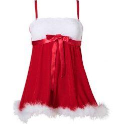 Koszulka nocna świąteczna bonprix czerwono-biały. Czerwone koszule nocne i halki bonprix, z koronki. Za 89,99 zł.