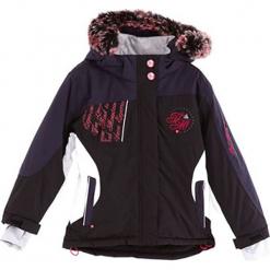 Kurtka narciarska w kolorze czarno-białym. Czerwone kurtki dziewczęce przeciwdeszczowe marki Peak Mountain, z aplikacjami, z materiału. W wyprzedaży za 167,95 zł.
