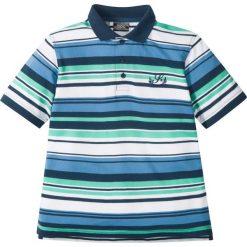 T-shirty chłopięce: Shirt polo w paski bonprix niebiesko-biało-miętowy w paski