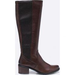 Caprice - Kozaki. Czarne buty zimowe damskie Caprice, z materiału, z okrągłym noskiem, na obcasie. W wyprzedaży za 269,90 zł.