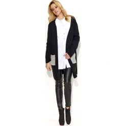 Swetry damskie: Czarno Szary Sweter-Narzutka z Kontrastowymi Kieszeniami