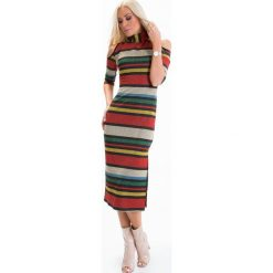 Sukienka w kolorowe paski z golfem ALZ3096. Szare sukienki marki Fasardi, l, w kolorowe wzory, z golfem. Za 119,00 zł.