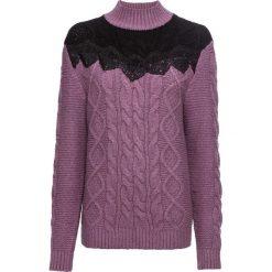 Sweter z golfem w warkocze, z koronką bonprix ciemny bez - czarny. Fioletowe golfy damskie bonprix, w koronkowe wzory, z koronki. Za 129,99 zł.