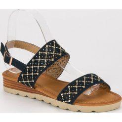 Sandały damskie: Ażurowe płaskie sandały PRIMAVERA niebieskie