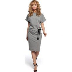 Sukienki: Sukienka midi z wiązaniem w pasie- szara