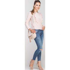 Bluzki damskie: Różowa Bluzka z Falbankami