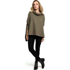 Khaki Oversizowa Asymetryczna Bluza z Luźnym Golfem. Czerwone bluzy damskie marki Molly.pl, l, z jeansu, biznesowe, z dekoltem na plecach, z długim rękawem. Za 128,90 zł.
