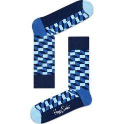 Happy Socks - Skarpetki Filled Optic. Niebieskie skarpetki damskie Happy Socks, z bawełny. W wyprzedaży za 29,90 zł.