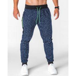 SPODNIE MĘSKIE DRESOWE P643 - GRANATOWE. Niebieskie spodnie dresowe męskie Ombre Clothing, z bawełny. Za 49,00 zł.