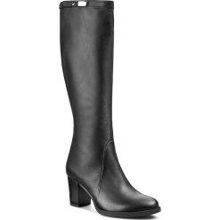 Kozaki ANN MEX - 7027 01S Czarny. Czarne buty zimowe damskie marki Kazar, ze skóry, na wysokim obcasie. W wyprzedaży za 349,00 zł.