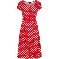 Sukienki: Sukienka shirtowa z dżerseju bonprix truskawkowo-biały w kropki