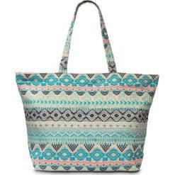 Torebka bonprix turkusowo-kolorowy. Niebieskie torby plażowe marki bonprix, w kolorowe wzory. Za 59,99 zł.