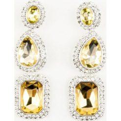 Kolczyki damskie: NA-KD Party Potrójne, duże kolczyki wysadzane kryształami – Multicolor,Yellow,Silver