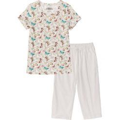 Piżamy damskie: Piżama ze spodniami 3/4 bonprix biel wełny z nadrukiem