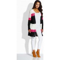 Swetry damskie: Oryginalny trójkolorowy sweter z kapturem ekri-fuksja-czarny
