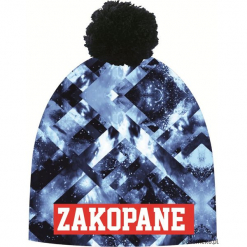 Czapka Magic Fun FROST. Szare czapki zimowe damskie marki Pakamera, z nadrukiem, z dzianiny. Za 79,00 zł.