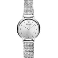 Emporio Armani Zegarek silvercoloured. Szare zegarki damskie marki Emporio Armani, l, z nadrukiem, z bawełny, z okrągłym kołnierzem. Za 1049,00 zł.