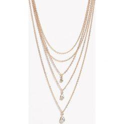Naszyjnik z kryształkowymi zawieszkami - Beżowy. Brązowe naszyjniki damskie marki Sinsay. Za 14,99 zł.