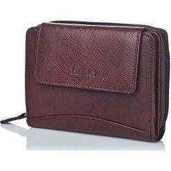 Portfele damskie: Skórzany portfel w kolorze ciemnobrązowym – 12,5 x 10 x 3 cm
