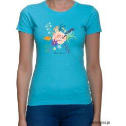Koszulka damska. kwiaty i ptaki. Niebieskie t-shirty damskie Pakamera, w kwiaty. Za 79,00 zł.