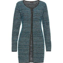 Kardigany damskie: Sweter rozpinany bonprix czarno-turkusowo-biało-srebrny