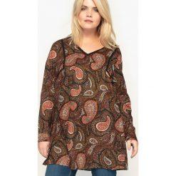 Bluzki damskie: Długa bluzka z nadrukiem, dekolt w serek, długi rękaw