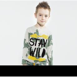 Koszulka. Brązowe t-shirty chłopięce z długim rękawem Wild, z aplikacjami, z bawełny. Za 49,90 zł.