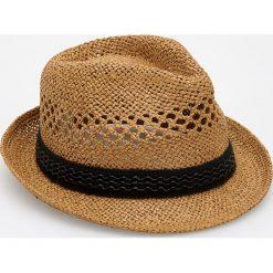 Kapelusze męskie: Pleciony kapelusz - Żółty
