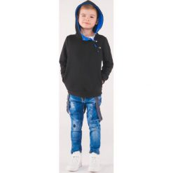 Odzież dziecięca: BLUZA DZIECIĘCA Z KAPTUREM KB005 - CZARNA/NIEBIESKA