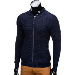 BLUZA MĘSKA ROZPINANA BEZ KAPTURA B551 - CIEMNOGRANATOWA/MELANŻOWA. Niebieskie bluzy męskie rozpinane marki Ombre Clothing, m, z bawełny, bez kaptura. Za 49,00 zł.