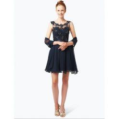 Sukienki: Niente – Elegancka sukienka damska z etolą, niebieski