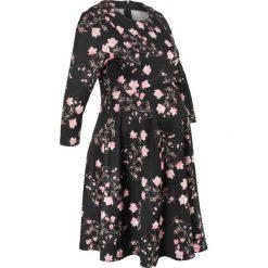 Sukienki ciążowe: Sukienka ciążowa neoprenowa bonprix czarny w kwiaty