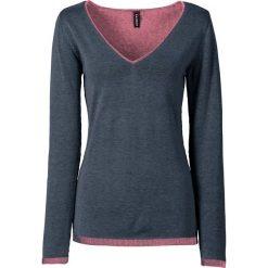 Swetry klasyczne damskie: Sweter dzianinowy z głębokim dekoltem w serek bonprix niebiesko-jasnoróżowy